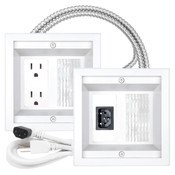 Midlite® Power Jumper HDTV Power Relocation Kit with metal clad cable White [22APJW-7R-MC]