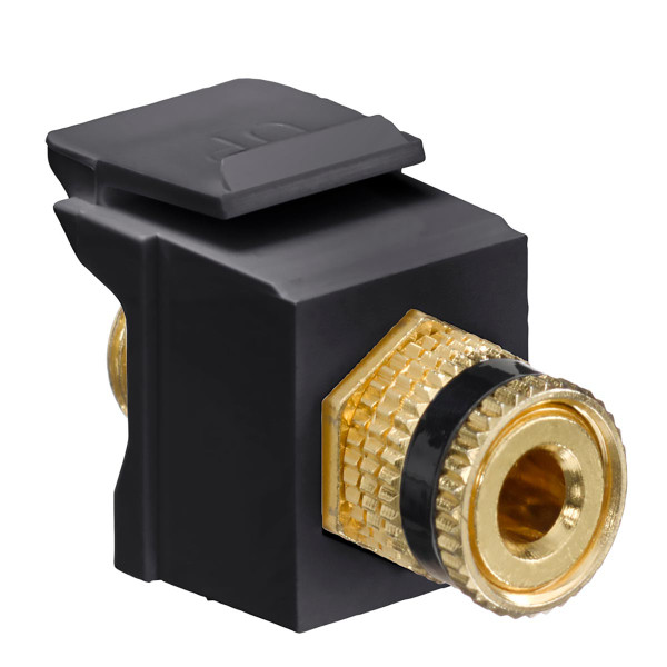 Leviton® QuickPort Binding Post Connector Black Stripe Black [40833-BEE]