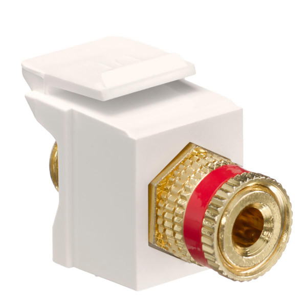 Leviton® QuickPort Binding Post Connector Red Stripe Light Almond [40833-BTR]