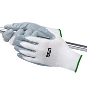 nitrile coated gloves, reusable gloves, flat gloves, PPE, Personal Protective Equipment, medium, high tack, secure grip, abrasion resistant, nylon knit